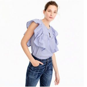J.Crew Ruffle-Front Shirt in End-on-End Cotton 2